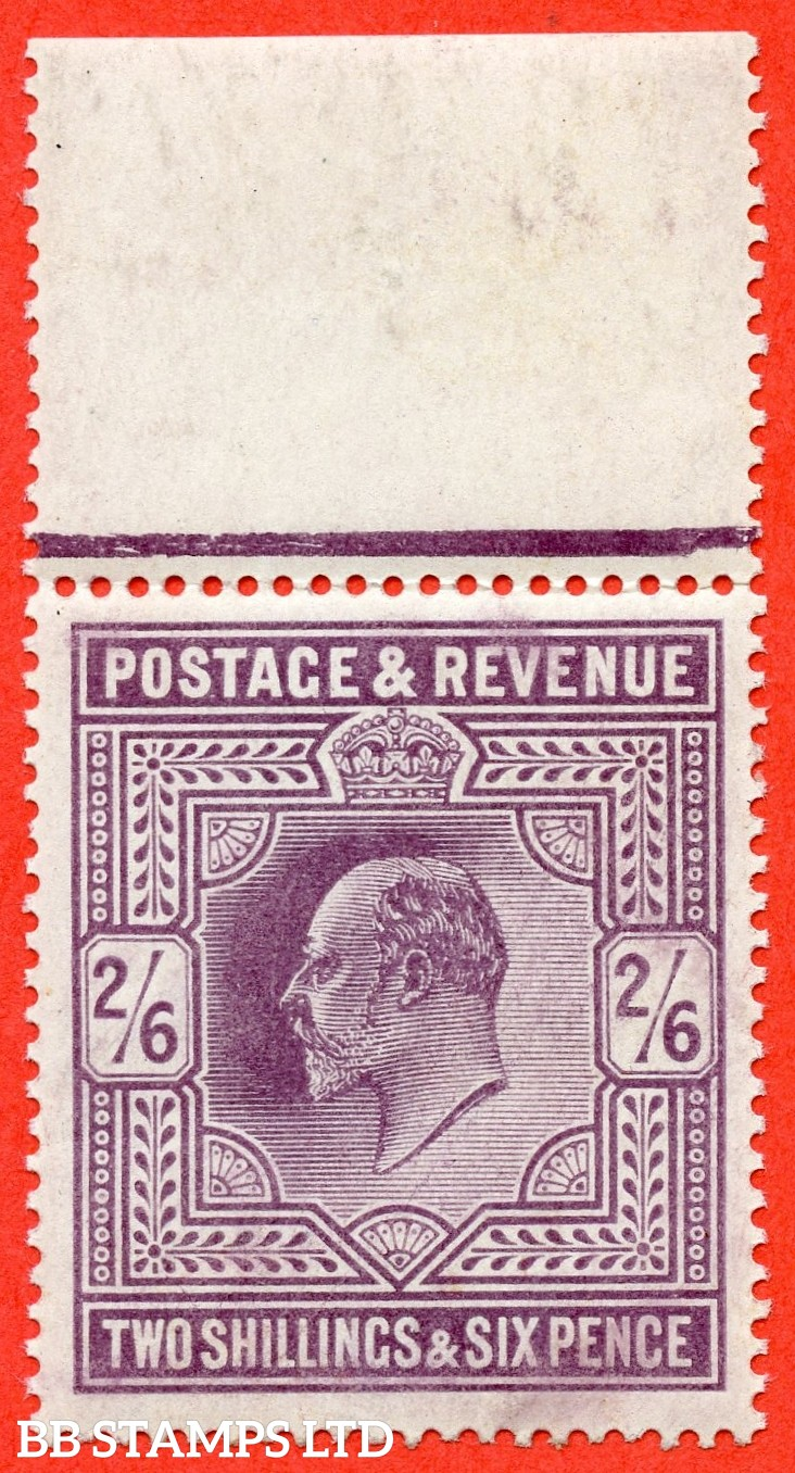 SG. 262. M49 ( 2 ). 2/6d Dull Purple © . A super UNMOUNTED MINT top marginal example.