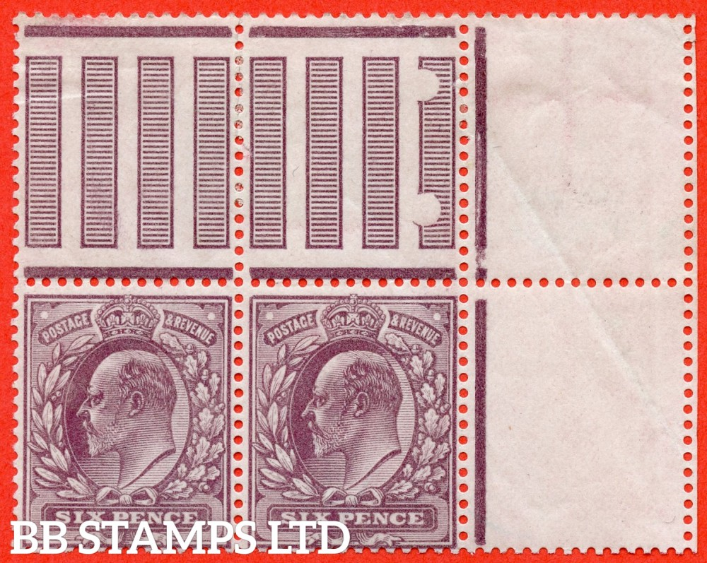 "SG. 298 a. M33A (3) d. 6d Reddish Purple. A fine UNMOUNTED MINT ( mounted in the margin only ) interpanneau marginal pair. Left hand stamp with the RARE variety "" No Cross On Crown. Pl. 9 row 11/11 "" variety."