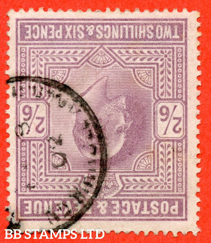 """SG. 260wi. M48 (1) b. 2/6 Lilac. INVERTED WATERMARK. A fine """" 1902 """" CDS used example of this RARE Edwardian watermark variety."""