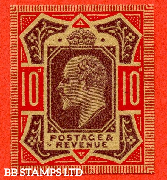 SG. 254 M42 (1). 10d Dull Purple & Carmine. PLATE PROOF. A fine 4 margin example on poor quality buff paper.