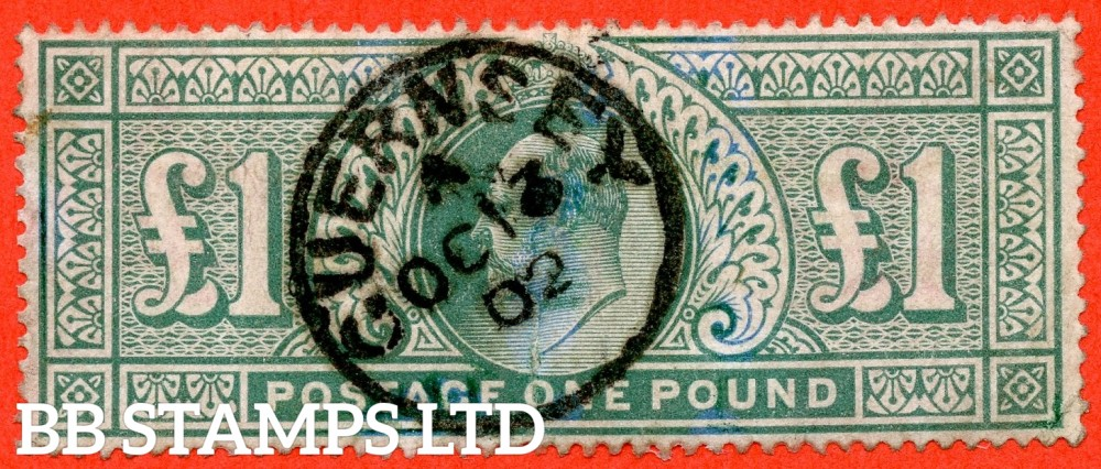 "SG. 266. M55. £1.00 Dull blue - green. A good "" October 13th 1902 GUERNSEY "" CDS used example."