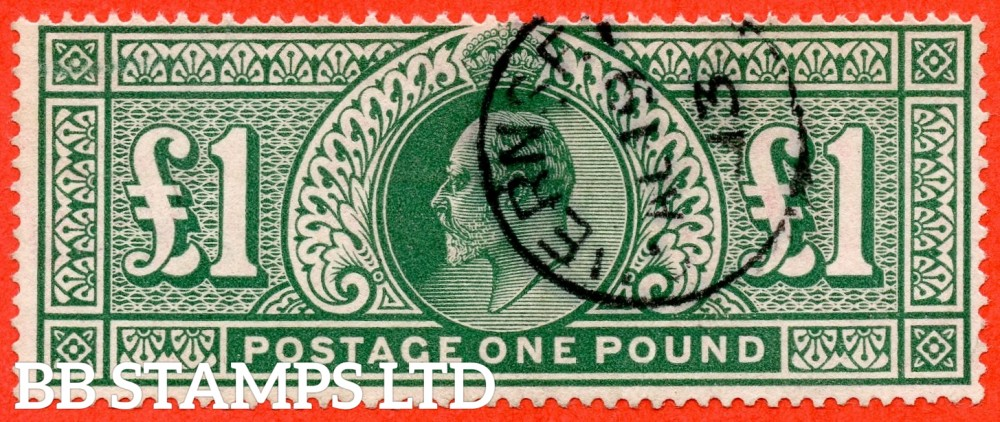 "SG. 320. M56. £1.00 Deep Green. A very fine "" August 19th 1913 GUERNSEY "" CDS used example."