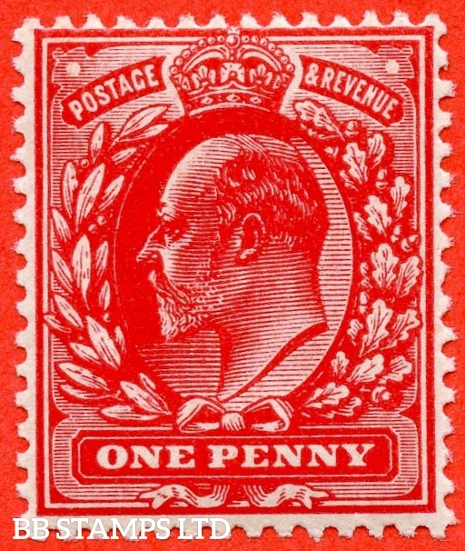 SG. 220 variety M5 ( UNLISTED). 1d Blood Red. A superb UNMOUNTED MINT example of this known but unlisted by SG. Shade variety complete with Hendon certificate.