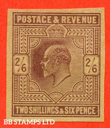 SG. 260. M48 (1). 2/6 Lilac. PLATE PROOF on poor quality buff paper. A fine 4 margin example.