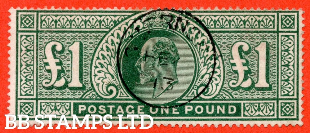 "SG. 320. M56. £1.00 Deep Green. A very fine "" February 1913 GUERNSEY "" CDS used example."