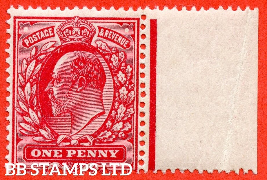 SG. 281 variety M7 ( UNLISTED ). 1d Deep Carmine. A very fine UNMOUNTED MINT example of this known but unlisted by SG. Edwardian shade variety complete with Hendon certificate.