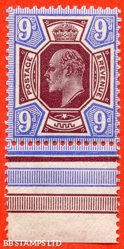 SG. 306a. M41 (2). 9d Deep Dull Reddish Purple & Deep Bright Blue. A very fine UNMOUNTED MINT example complete with RPS certificate.