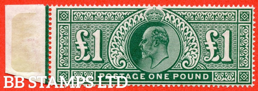 SG. 320. M56. £1.00 Deep Green. A superb UNMOUNTED MINT left marginal example.