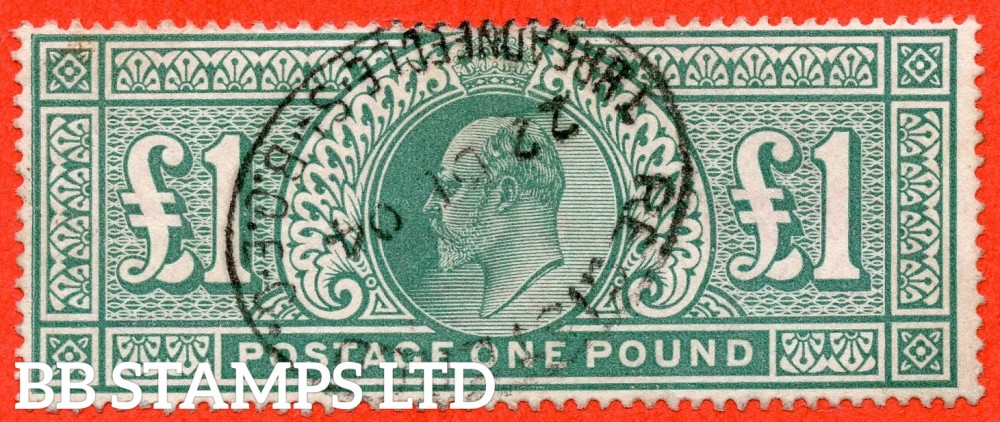 """SG. 266. M55. £1.00 Dull blue - green. A fine """" December 22nd 1904 THREADNEEDLE ST """" CDS used example."""