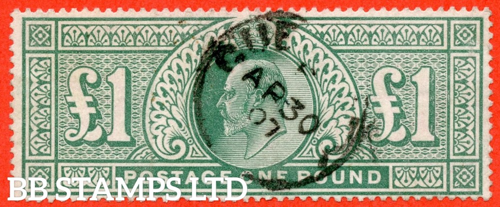 "SG. 266. M55. £1.00 Dull blue - green. A very fine "" April 30th 1907  GUERNSEY "" CDS used example."