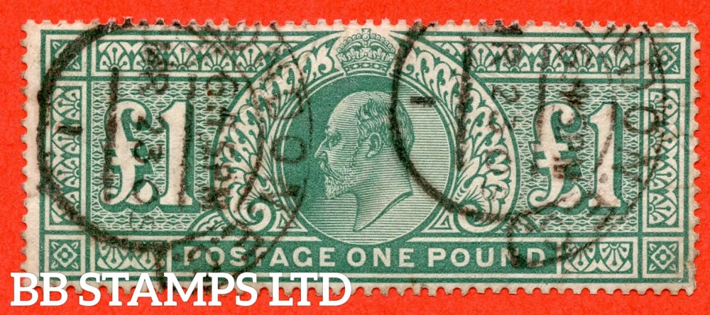 """SG. 266. M55. £1.00 Dull blue - green. A fine """" March 23rd 1905 LONDON """" CDS used example."""