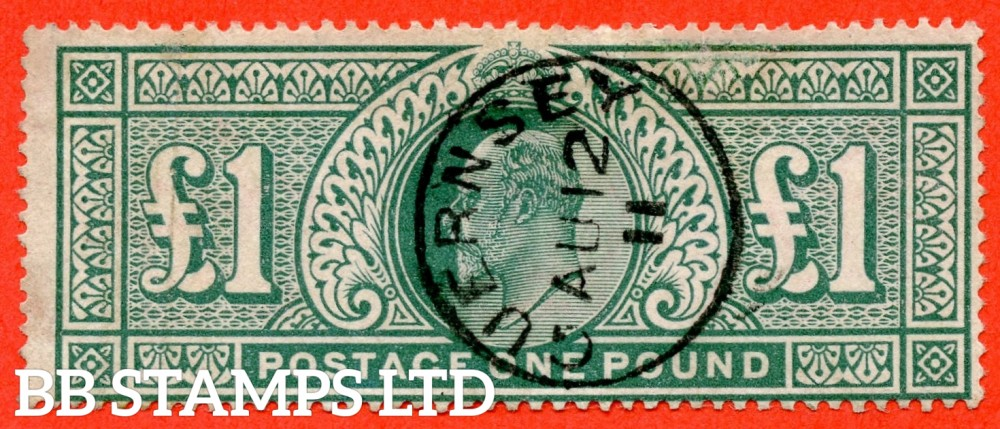 "SG. 266. M55. £1.00 Dull blue - green. A very fine "" August 12th 1911  GUERNSEY "" CDS used example."
