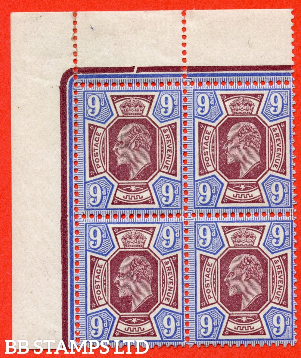 SG. 307. M41 (3). 9d Dull Reddish Purple & Blue. A very fine UNMOUNTED MINT ( mounted in the margin only ) top left hand hand corner marginal block of 4.
