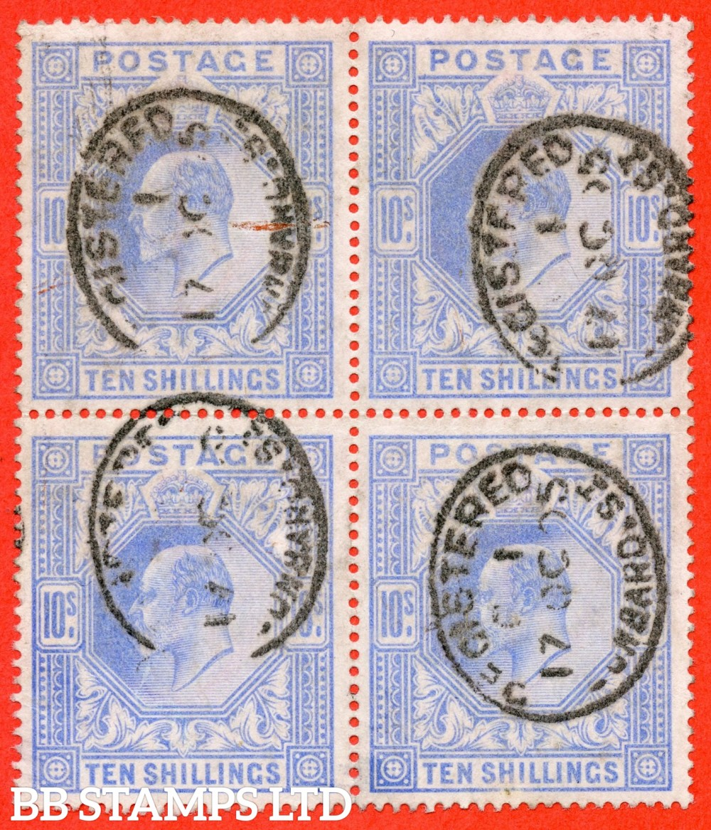 "SG. 265. M53 (1) 10/- Ultramarine. A fine "" 17th October 1905 LOMBARD STREET "" used block of 4. A scarce multiple."