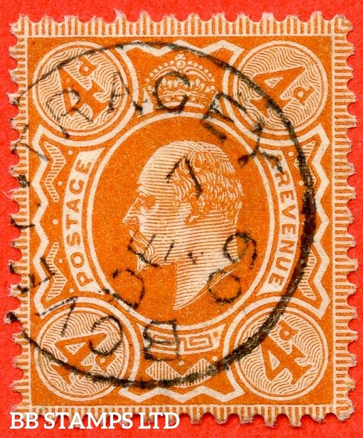 "SG. 239. M25 (1). 4d brown - orange. A very fine "" 7th December 1909 BOVEY TRACEY "" CDS used  example of this scarce Edward VII shade."