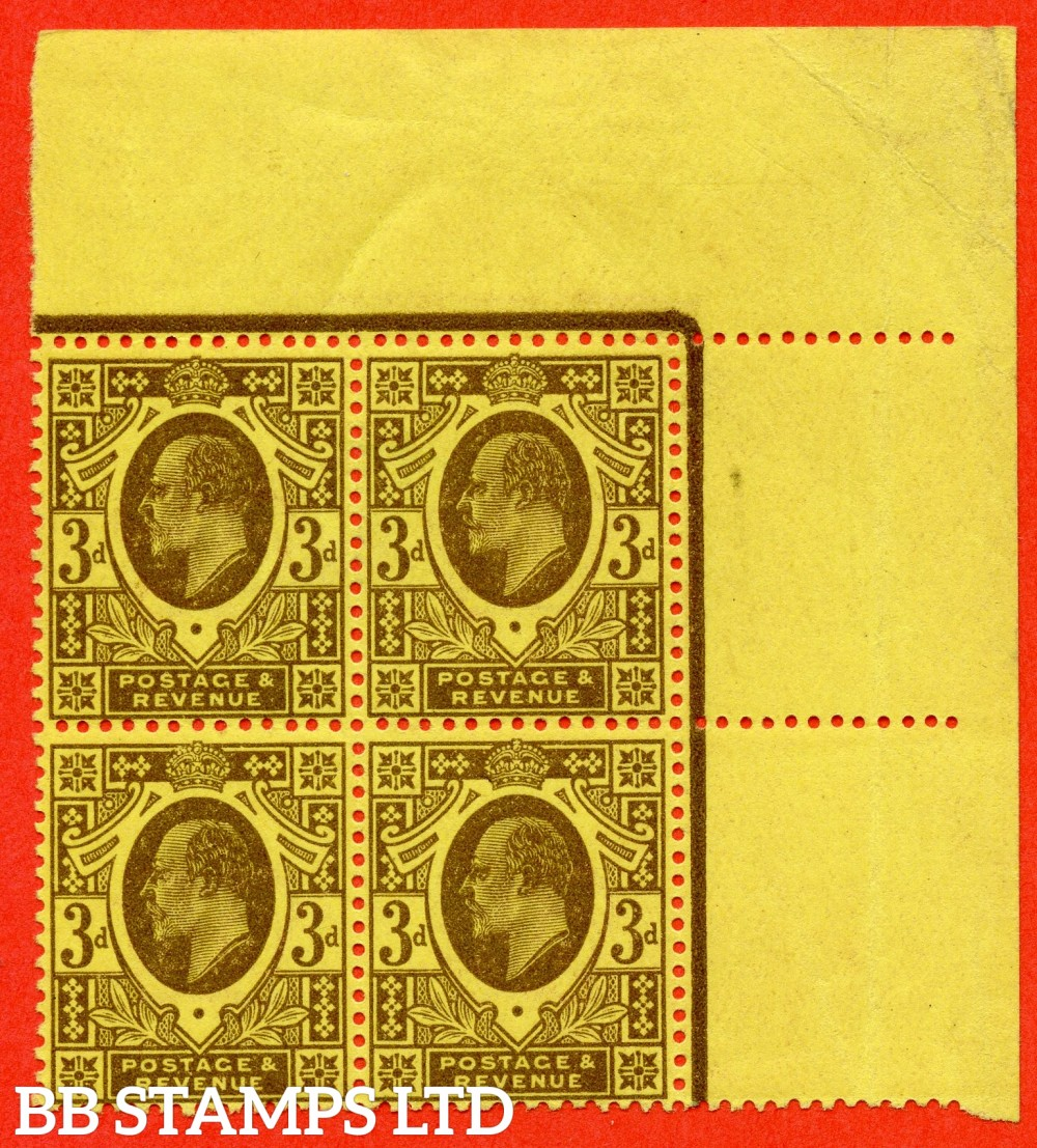SG. 277 variety M21 (4). 3d Dull Red Purple & Lemon. A superb UNMOUNTED MINT ( mounted in the margin only ) top right hand corner margiinal block of 4.