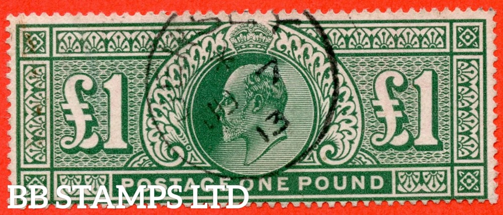 "SG. 320. M56. £1.00 Deep Green. A very fine "" 7th June 1913 GUERNSEY "" CDS used example."