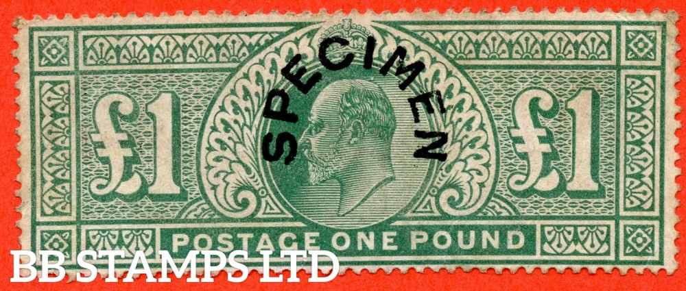 SG. 266 s. M55 t. £1.00 Dull blue - green. An average mint example overprinted with SPECIMEN type 17. A nice stamp with small faults.