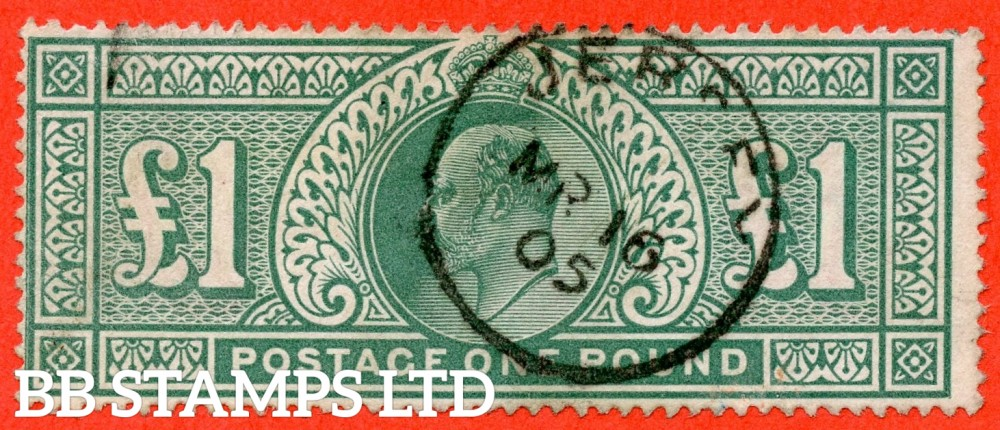"""SG. 266. M55. £1.00 Dull blue - green. A fine """" March 16th 1905 JERSEY """" CDS used example."""