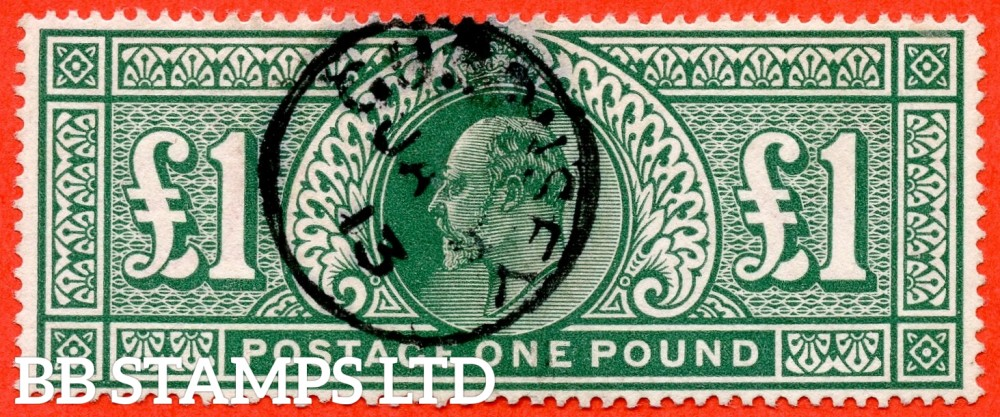 """SG. 320. M56. £1.00 Deep Green. A very fine """" January 5th 1912 GUERNSEY """" CDS used example."""