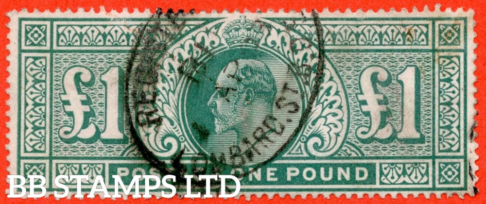 """SG. 266. M55. £1.00 Dull blue - green. A good """" April 1st LOMBARD ST """" CDS used example."""