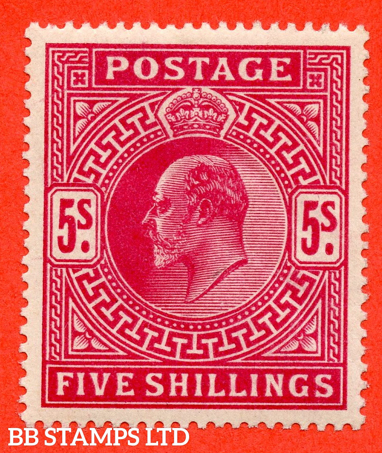 SG. 264. M51 (2). 5/- Deep Bright Carmine. A very fine UNMOUNTED MINT example of this classic Edwardian high value.