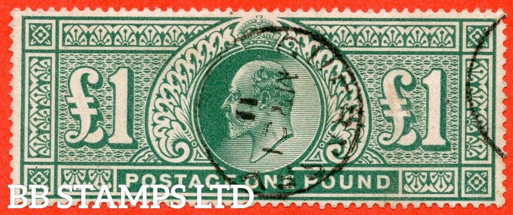 "SG. 320. M56. £1.00 Deep Green. A very fine "" March 21st 1911  GUERNSEY "" CDS used example."