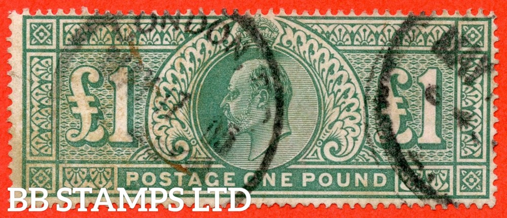 "SG. 266. M55. £1.00 Dull blue - green. A good "" May 17th 1905 LONDON "" CDS used example."