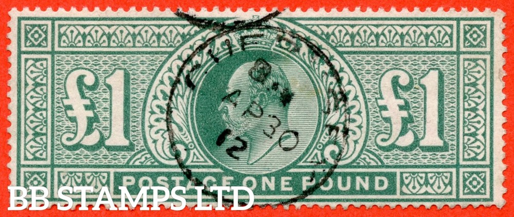 "SG. 320. M56. £1.00 Deep Green. A very fine "" April 30th 1912  GUERNSEY "" CDS used example."
