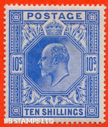 SG. 265. Variety M53 (2) 10/- Deep Ultramarine. A very fine UNMOUNTED MINT example of this scarce shade.