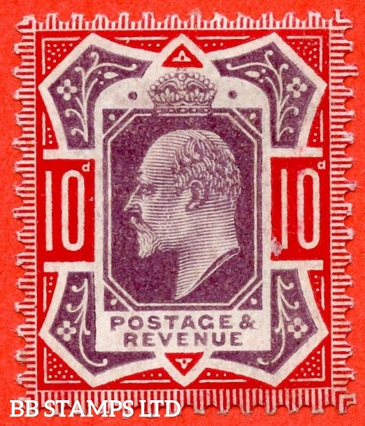 SG. 256 variety M43 (UNLISTED) 10d Slate Purple & Scarlet ©. A Superb UNMOUNTED MINT example of this known but unlisted by SG. Shade variety complete with Hendon certificate.