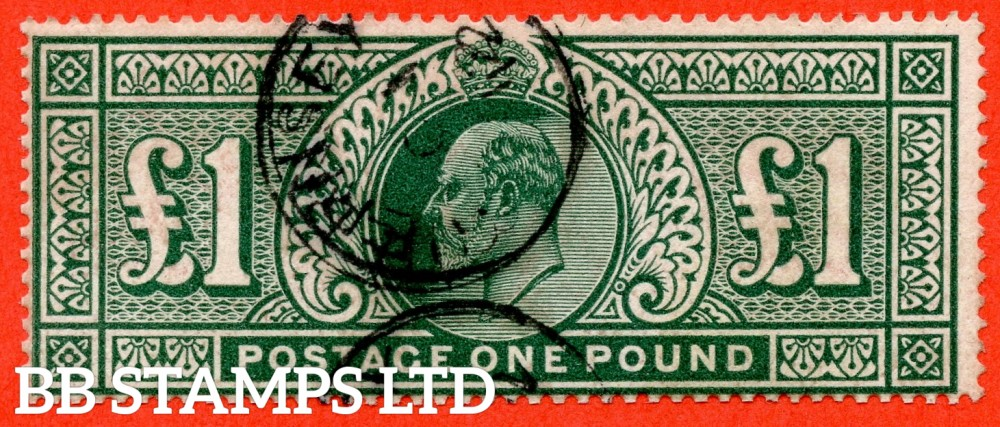 "SG. 320. M56. £1.00 Deep Green. A fine "" 1912 GUERNSEY "" CDS used example."