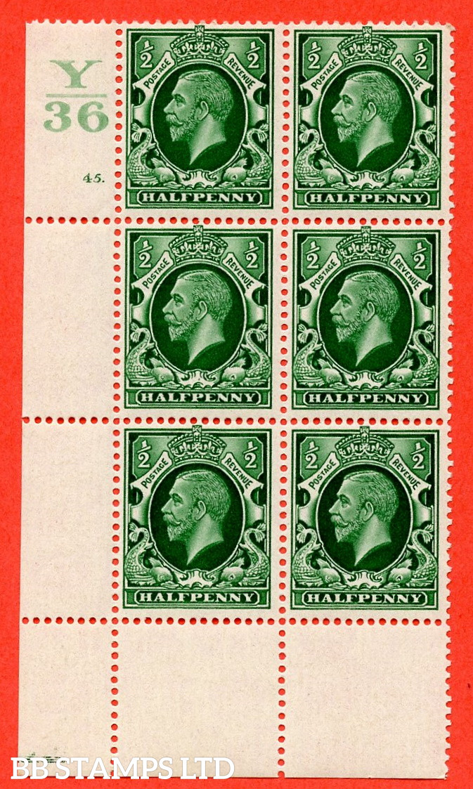 """SG. 439 N47 ½d. Green. A superb unmounted mint """" Control Y36 cylinder 45 dot """" control block of 6 with perf type 2A P/P"""