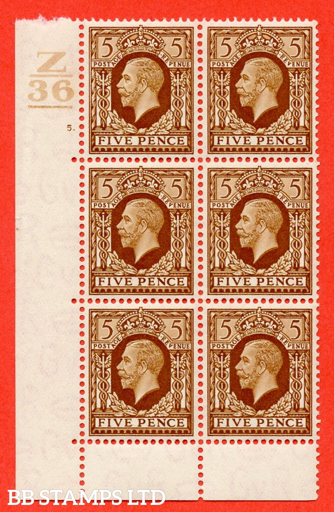 SG. 446. N59. 5d Yellow-Brown. A Superb UNMOUNTED mint block of 6. Control Z36. 1 Bar. Cylinder 5 dot perf type 6B E/P.
