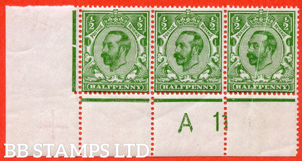 "SG. 324. N2 (3). ½d yellow green. Die 1B. An UNMOUNTED MINT control "" A11 close - perf "" strip of 3. Perf type 1A and plate 2. With a fine PRE PRINTING PAPER FOLD ERROr affecting stamp Row 20/3."