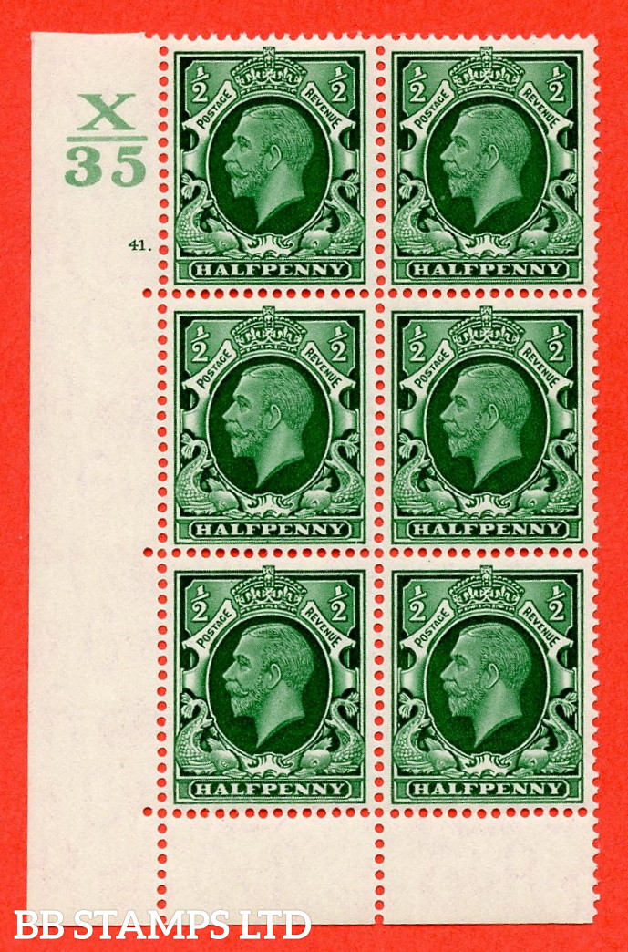 """SG. 439 N47 ½d. Green. A superb unmounted mint """" Control X35 cylinder 41 dot """" control block of 6 with perf type 6B E/P"""