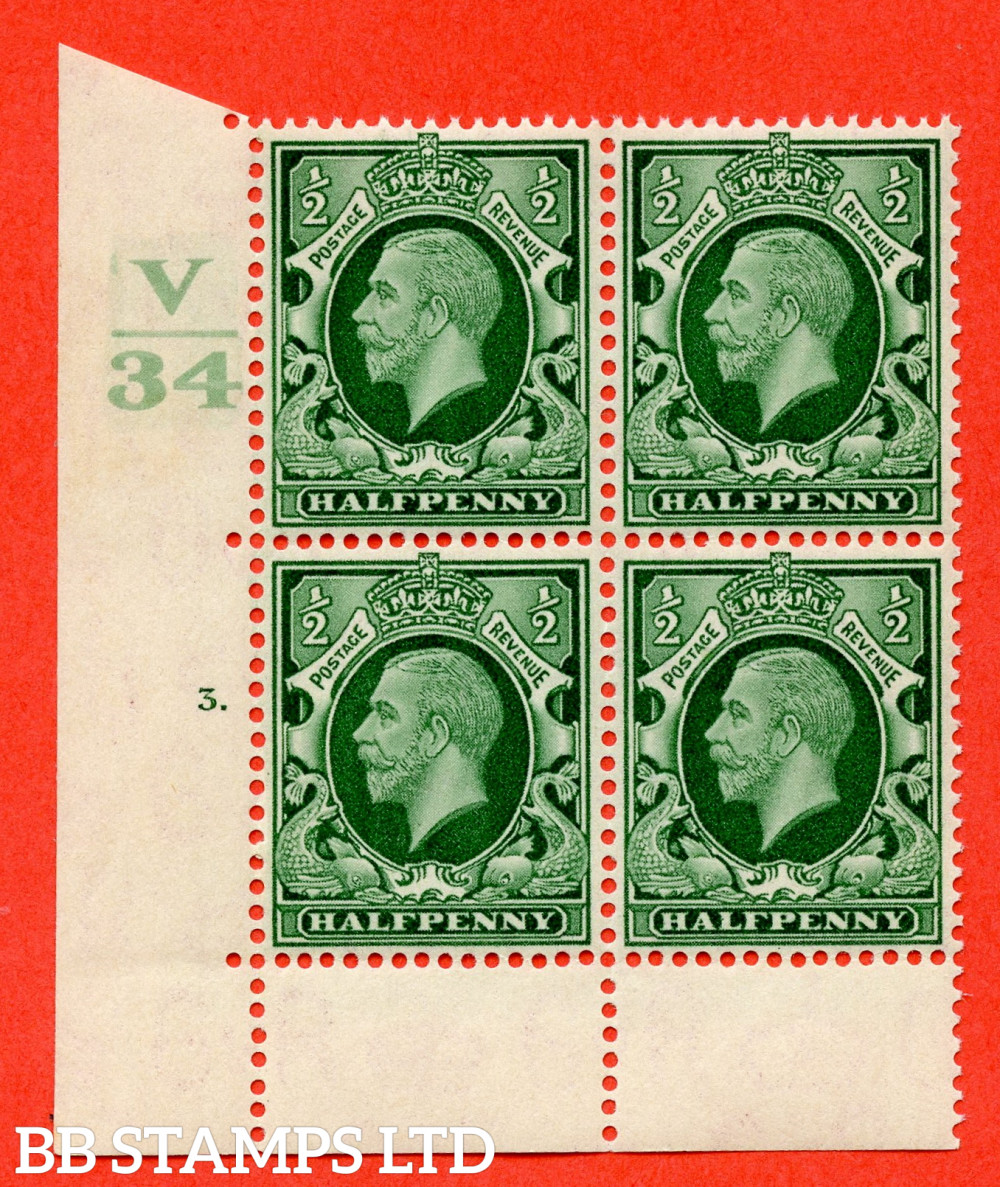 """SG. 439 variety N46 ½d. Green. A superb UNMOUNTED MINT """" Control V34 cylinder 3 dot """" control block of 4 with perf type 6B E/P"""