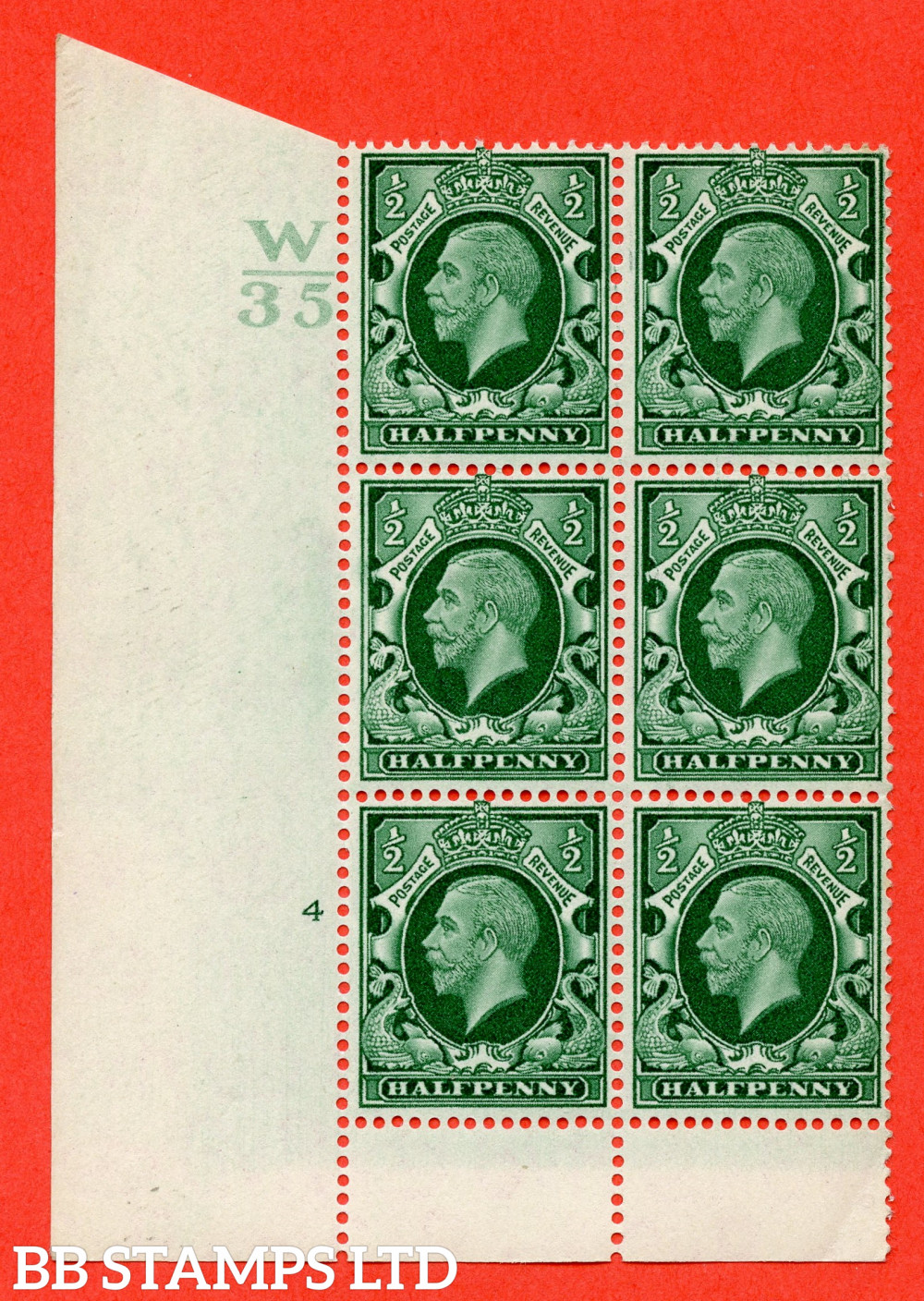 """SG. 439 variety N46 ½d. Green. A superb UNMOUNTED MINT """" Control W35 cylinder 4 no dot """" control block of 6 with perf type 6 I/P"""