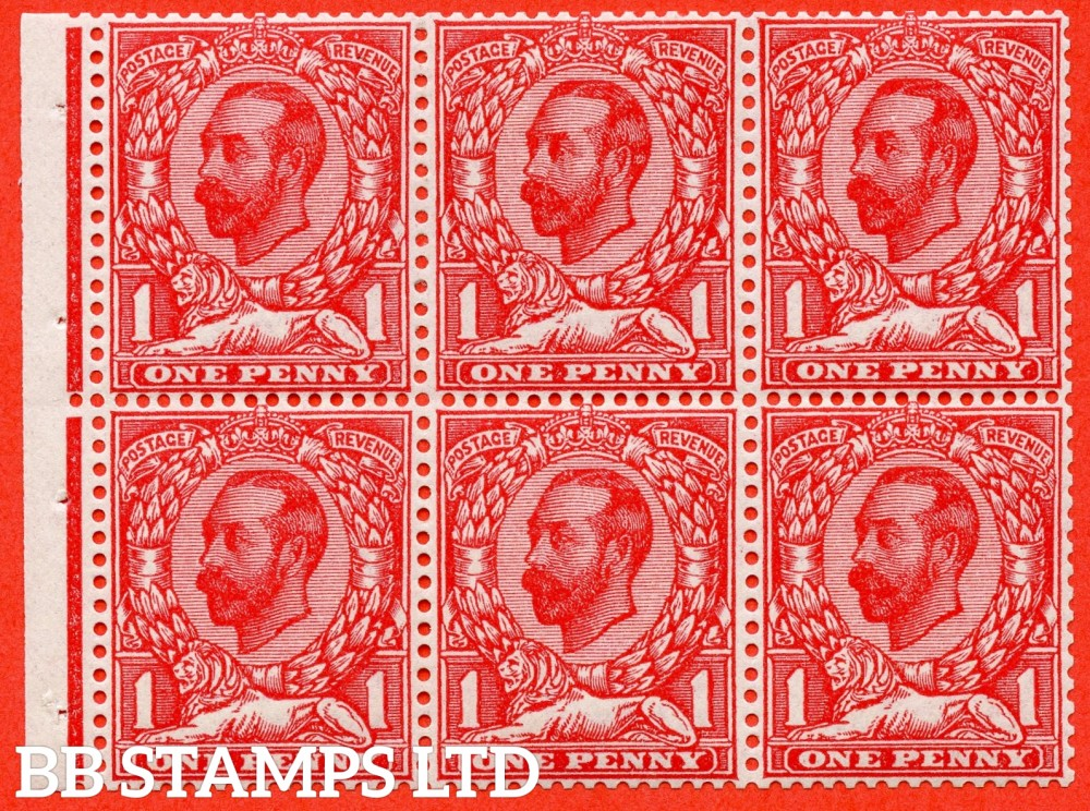 SG. 336 a. Variety 337. N10 (3). NB5. 1d bright scarlet. Die 1B. A fine UNMOUNTED MINT complete booklet pane. Perf type ' E '.