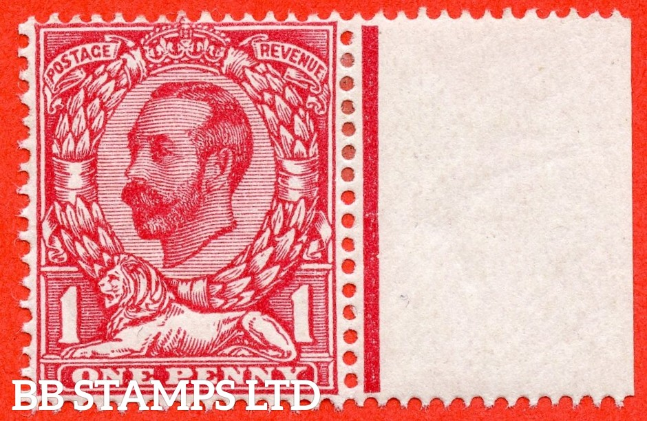 SG. 330 variety N8 ( UNLISTED). 1d deep carmine red. A fine mounted mint right hand marginal example of this known but unlisted by SG. George V shade variety. Complete with Hendon certificate.
