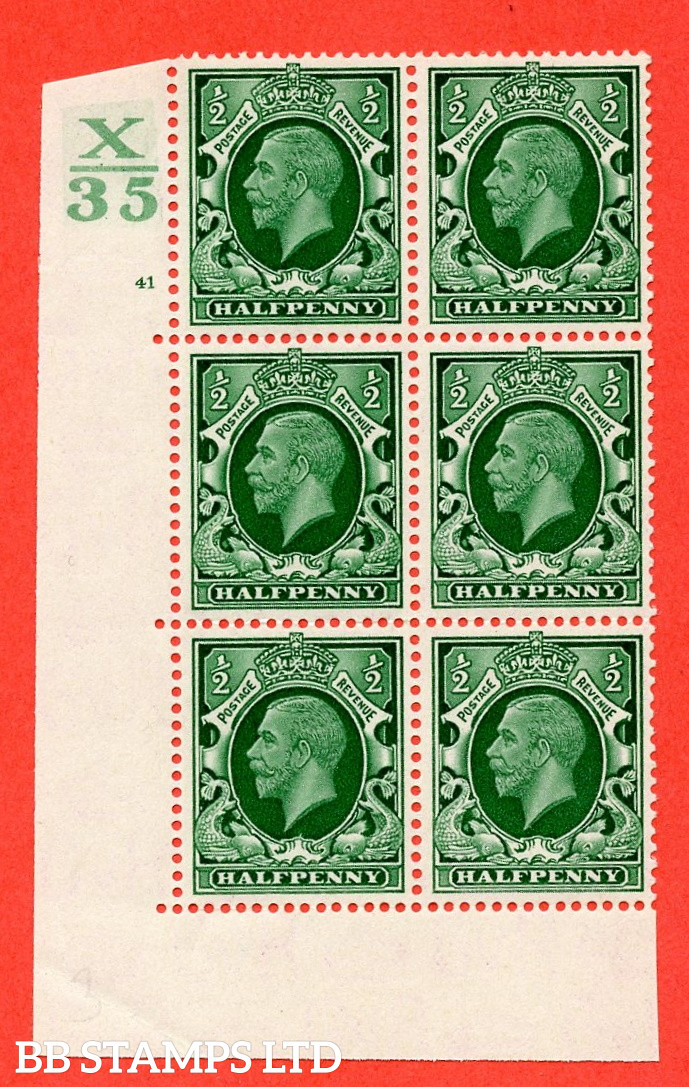 """SG. 439 N47 ½d. Green. A fine mounted mint """" Control X35 cylinder 41 no dot """" control block of 6 with perf type 5 E/I"""