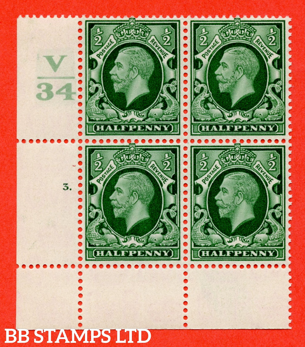 """SG. 439 variety N46 ½d. Green. A superb unmounted mint """" Control V34 cylinder 3 dot """" control block of 4 with perf type 2A P/P"""