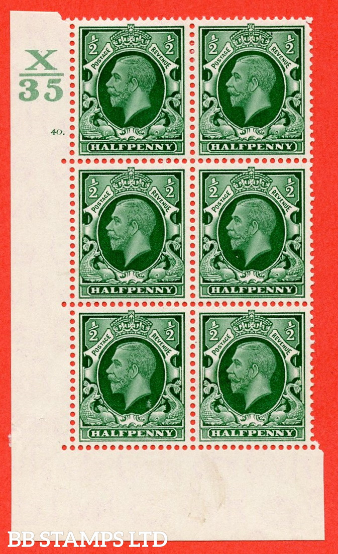 """SG. 439 N47 ½d. Green. A fine lightly mounted mint """" Control X35 cylinder 40 dot """" control block of 6 with perf type 5 E/I"""