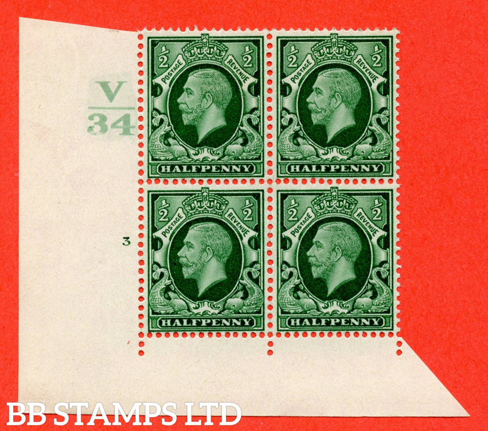 """SG. 439 variety N46 ½d. Green. A superb unmounted mint """" Control V34 cylinder 3 no dot """" control block of 4 with perf type 4 I/2E"""