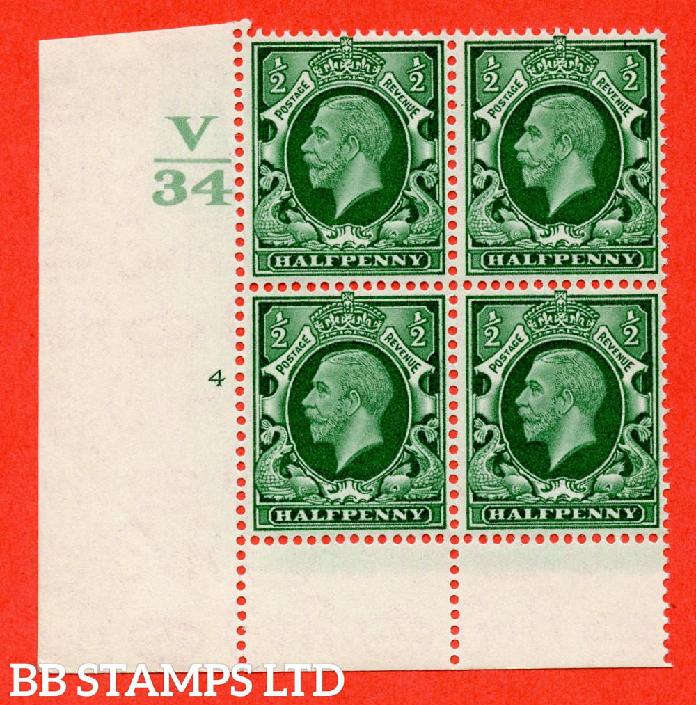 """SG. 439 variety N46 ½d. Green. A fine lightly mounted mint """" Control V34 cylinder 4 no dot """" control block of 4 with perf type 6 I/P"""