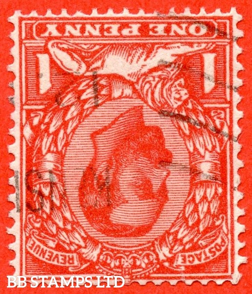 SG. 333 wi. N9 (4) a. 1d Aniline scarlet. INVERTED WATERMARK. A very fine used example of this scarce Downey shade variety.