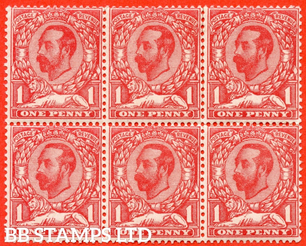 SG. 328 variety N7 (6). 1d Rose Pink. Die 1A. A very fine UNMOUNTED MINT block of 6 of this scarce Downey shade variety complete with RPS certificate.