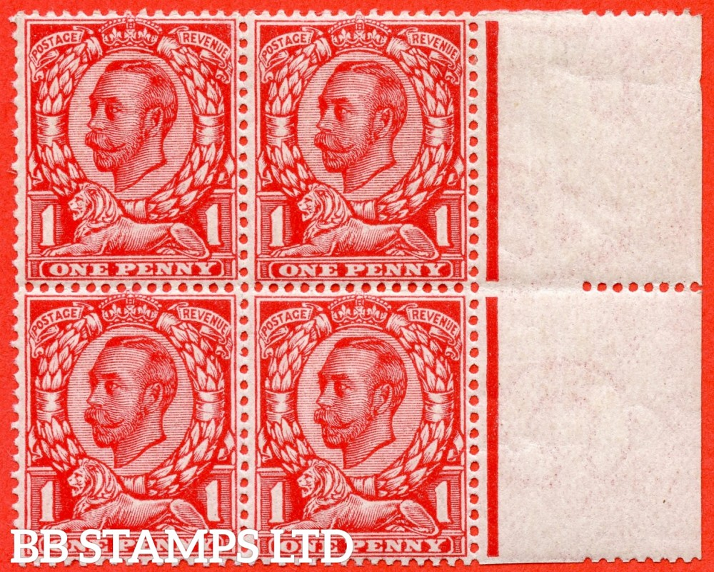 """SG. 341 b. N11 (2) f. 1d bright scarlet die 2. A super ( 3 stamps UNMOUNTED MINT ) right hand marginal block of 4 of this scarce listed variety """" Printed double. One Albino """". Complete with BPA certificate and a RARE multiple."""