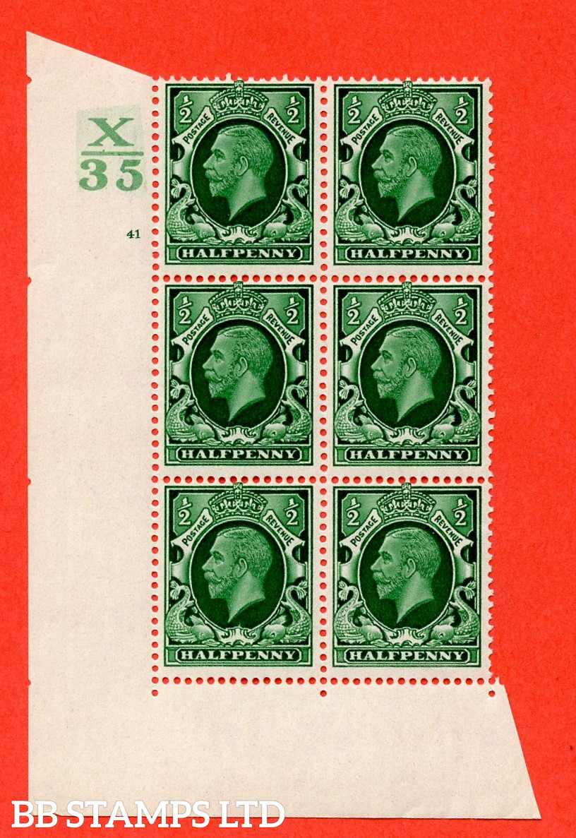 """SG. 439 N47 ½d. Green. A superb UNMOUNTED MINT """" Control X35 cylinder 41 no dot """" control block of 6 with perf type 2 I/E"""