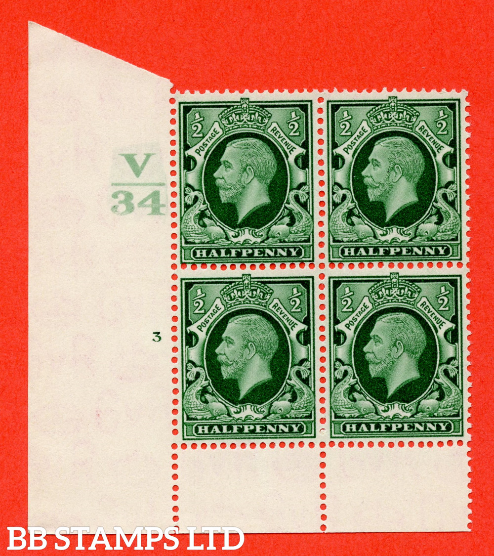 """SG. 439 variety N46 ½d. Green. A superb unmounted mint """" Control V34 cylinder 3 no dot """" control block of 4 with perf type 6 I/P"""